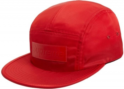 Supreme Patent Leather Patch Camp Cap- Red