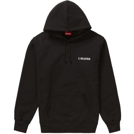 Supreme 1-800 Hooded Sweatshirt- Black
