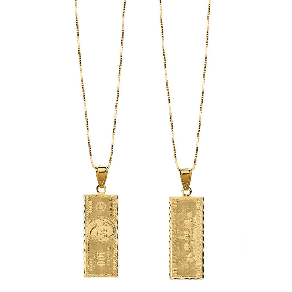 Supreme 100 Dollar Bill Gold Pendant