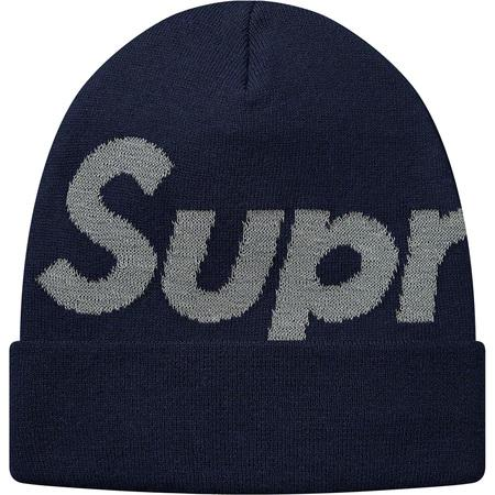 Supreme Big Logo Beanie- Navy