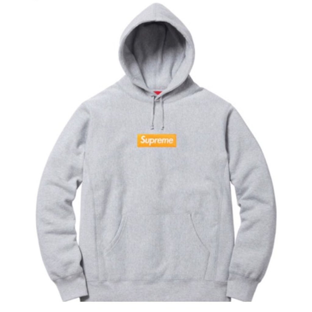 Supreme Box Logo Hoodie- Grey/Orange