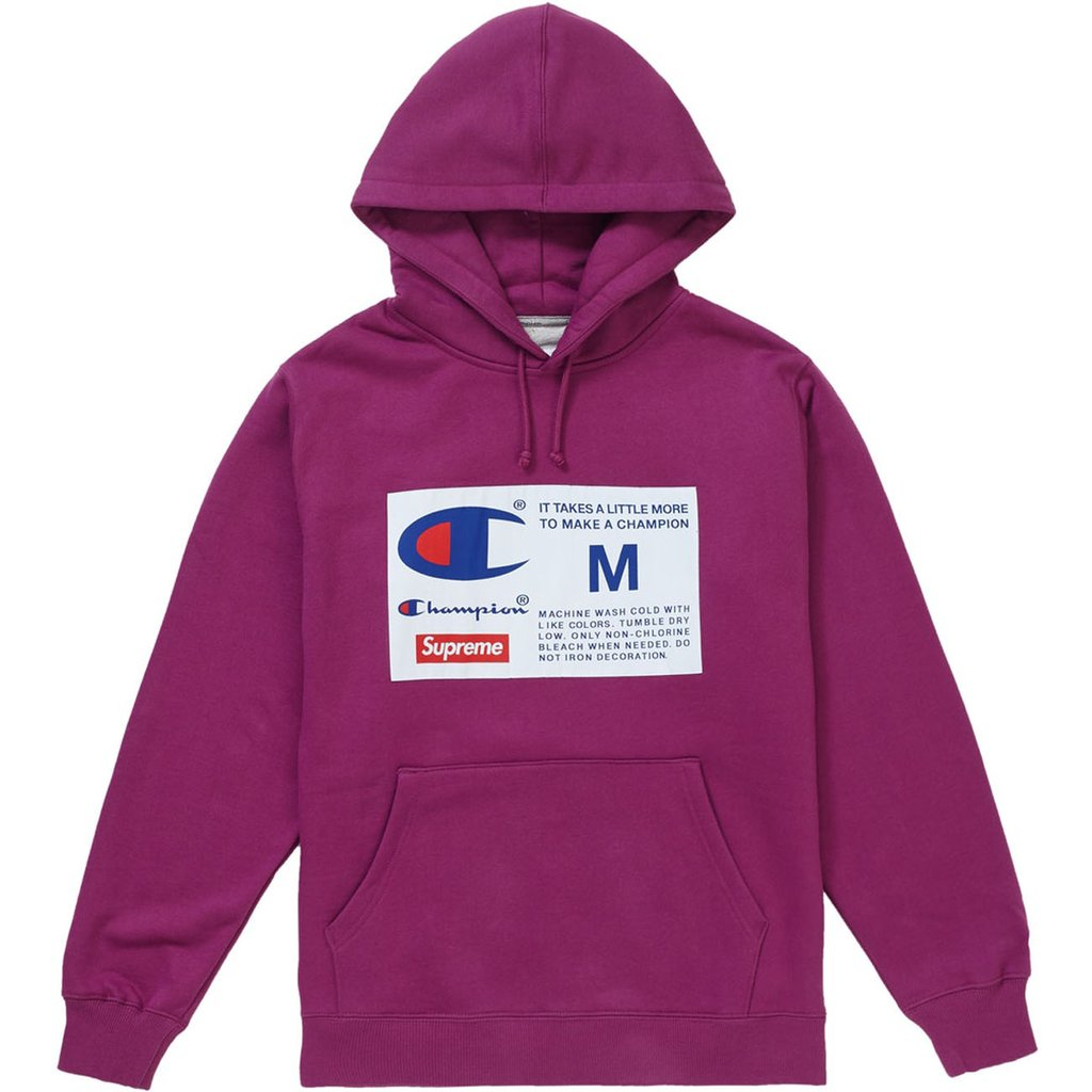 Supreme Champion Label Hooded Sweatshirt- Bright Purple