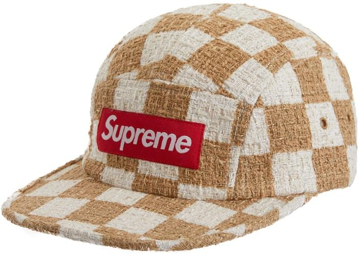 Supreme Checkerboard Boucle Camp Cap- Tan