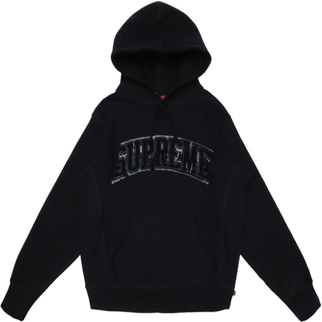 Supreme Chenille Hooded Sweatshirt- Black