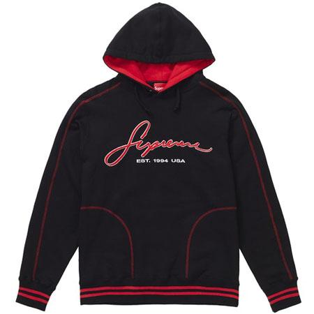 Supreme Contrast Embroidered Hooded Sweatshirt- Black