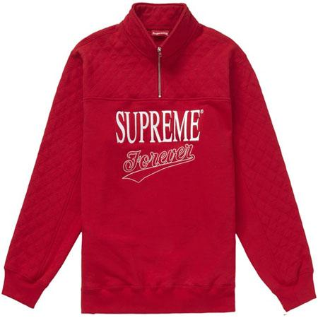 Supreme Forever Half Zip Sweatshirt- Red