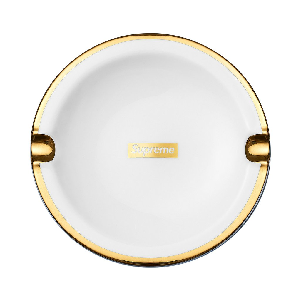 Supreme Gold Trim Ceramic Ashtray- White