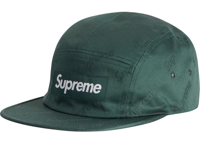 Supreme Jacquard Logos Twill Camp Cap- Forest Green