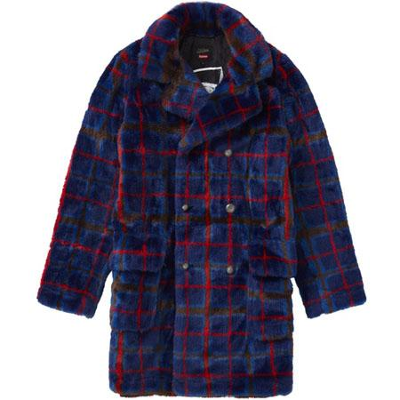 Supreme Jean Paul Gaultier Double Breasted Plaid Faux Fur Coat- Blue