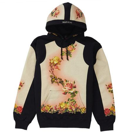 Supreme Jean Paul Gaultier Floral Print Hooded Sweatshirt- Black