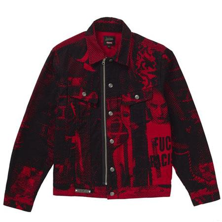 Supreme Jean Paul Gaultier Fuck Racism Trucker Jacket- Red