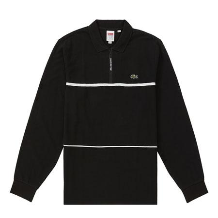 Supreme LACOSTE Pique Zip L/S Polo- Black
