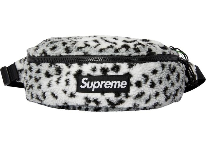 Supreme Leopard Fleece Waist Bag- White