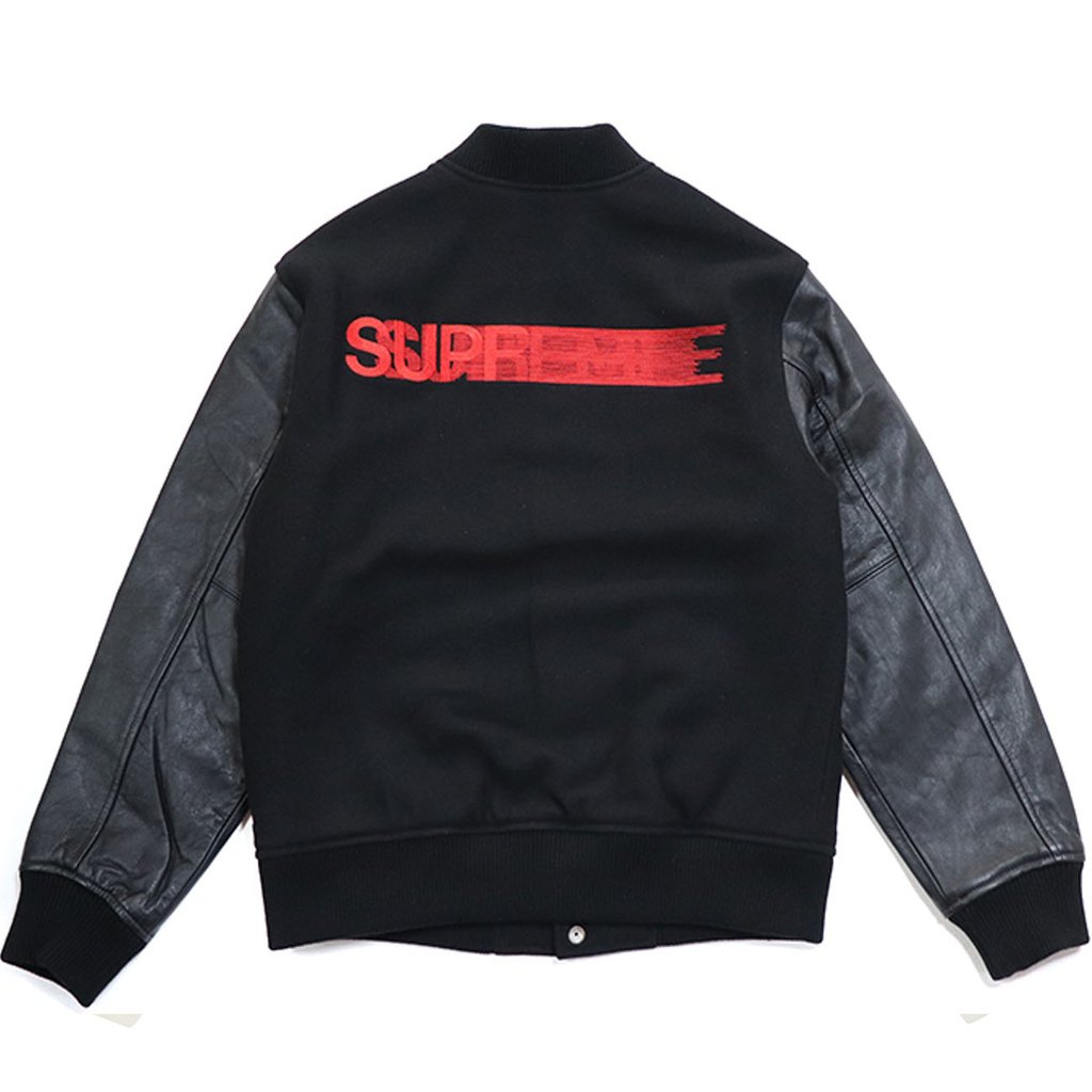 Supreme Motion Logo Varsity Jacket- Black