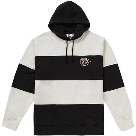 Supreme Nike Stripe Hooded Sweatshirt- Black