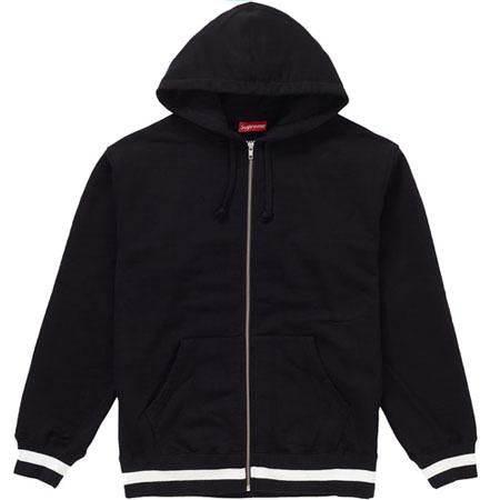 Supreme Old English Stripe Zip Up Sweatshirt- Black