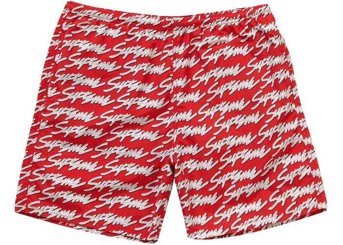 Supreme Signature Script Logo Water Short- Red
