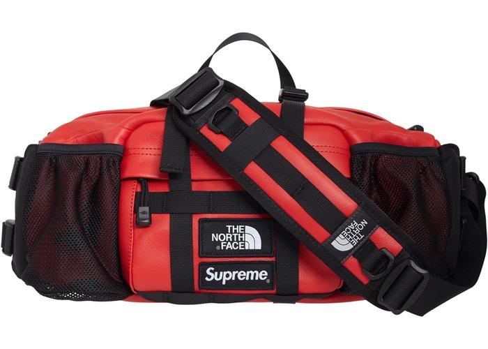 Supreme The North Face Leather Mountain Waist Bag- Red