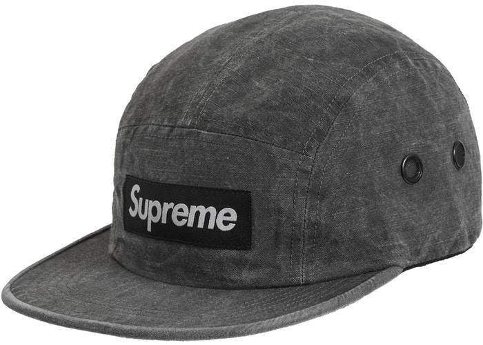 Supreme Washed Linen Camp Cap- Black