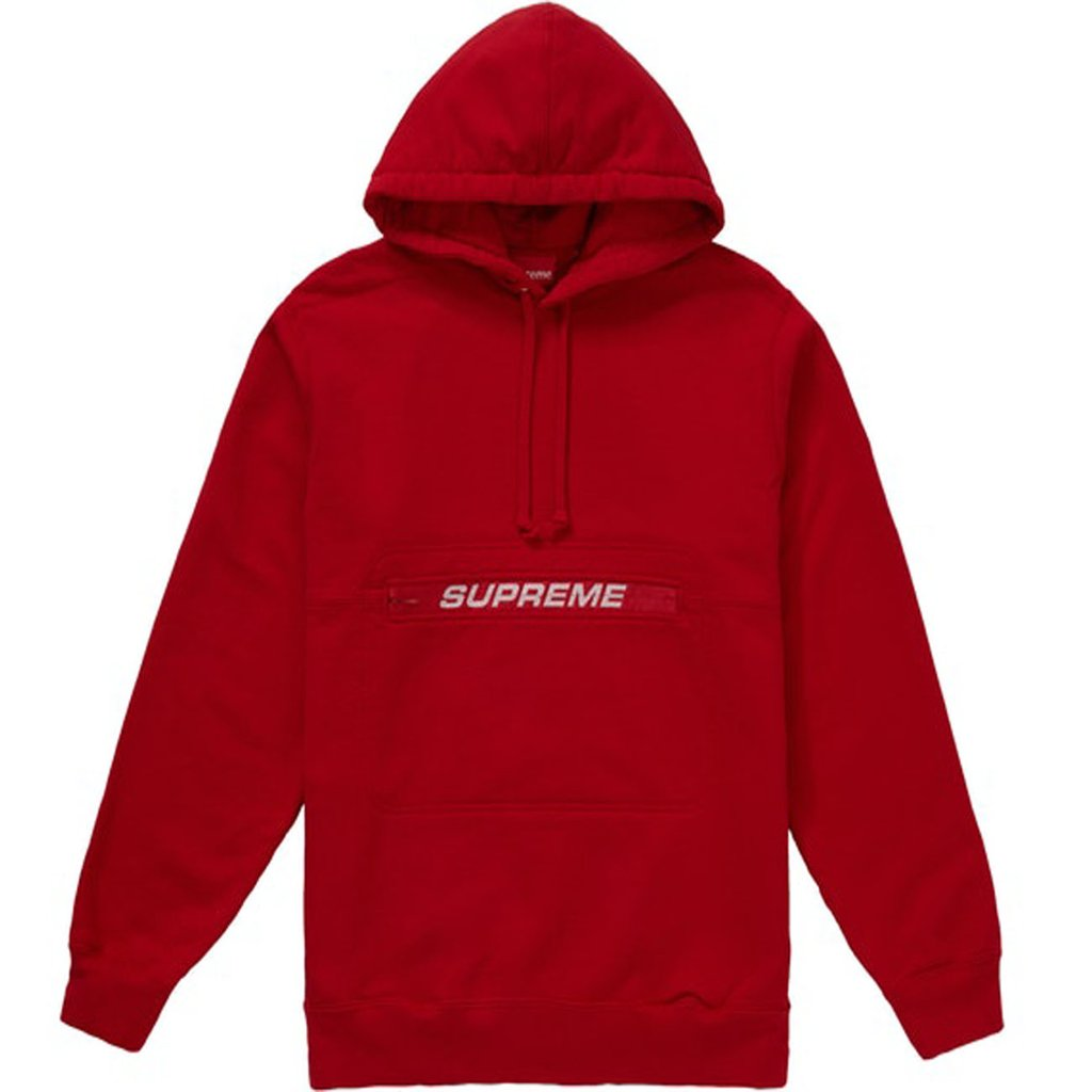 Supreme Zip Pouch Hooded Sweatshirt- Red